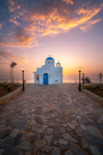 Cyprus. Protaras. Church Of St. Nicholas In Cyprus. The Port Of Paralimni. Pernera. Blue And White Church On The Coast Of The Mediterranean Sea. Attractions Of Cyprus.