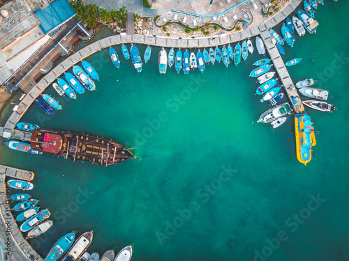 Aerial view over Ayia Napa Harbor - touristic attraction in famous beach destina Fototapete