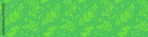 Fototapeta Organic seamless pattern and vegetarian background with leaves. Modern ornament. Green packaging design template with raw textures. Label tag design, vegan food, natural eco cosmetics, bio concept. obraz