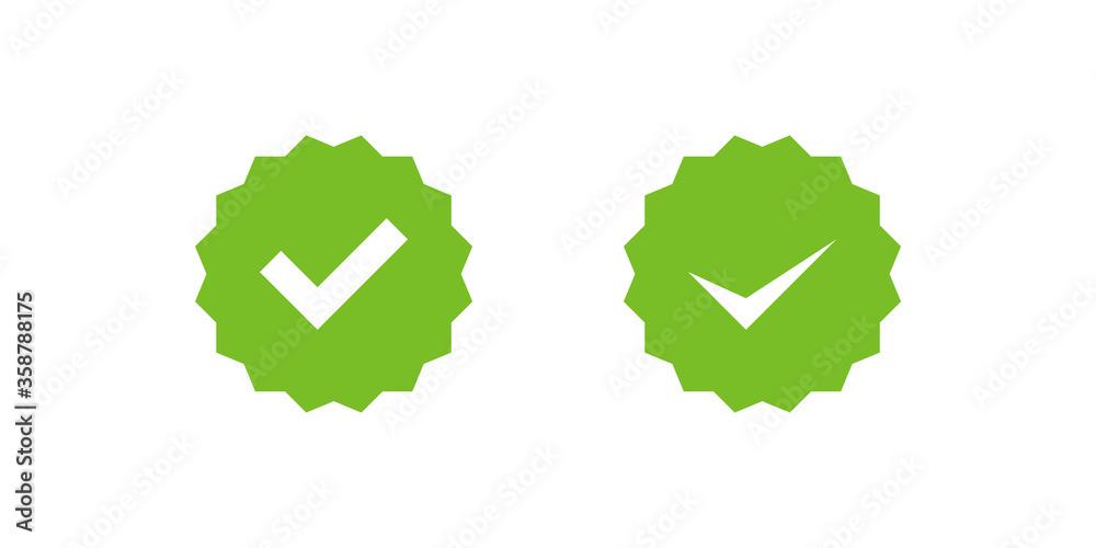 Fototapeta Checkmark right symbol tick icon in flat style. Profile verification set vector