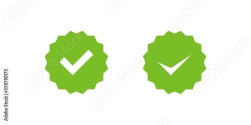 Obraz Checkmark right symbol tick icon in flat style. Profile verification set vector - fototapety do salonu