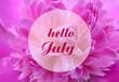 Leinwandbild Motiv Hello July greeting on natural pink peony flower background.Summer concept.