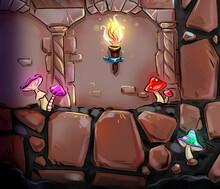 Mystic Cave View Cartoon Background Art