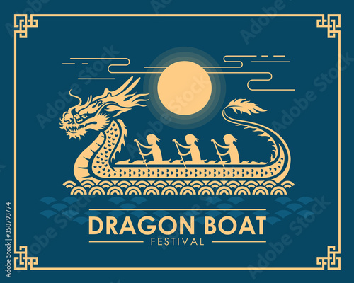 Fotografie, Obraz Dragon boat festival banner - yellow gold dragon boat with waterman sign and sun