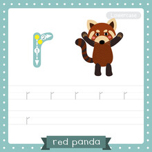 Letter R Lowercase Tracing Practice Worksheet Of Red Panda