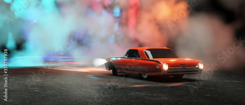 Photo 3d render realistic red 1974 Ford Falcon, ford classic wallpapper trendy car wal