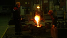 Plant. Foundry. Pouring Metal ...