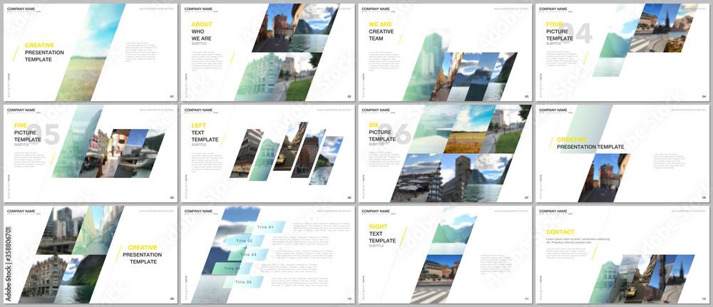 Fototapeta Minimal presentations design, portfolio vector templates with colorful gradient geometric background. Multipurpose template for presentation slide, flyer leaflet, brochure cover, report, advertising.
