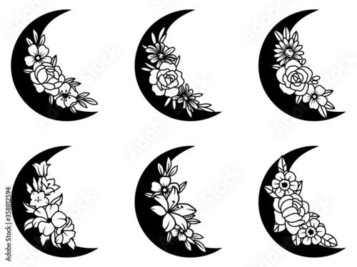 Set of floral crescent moon Canvas Print