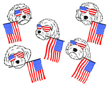 Set Of Goldendoodle Dogs With Glasses. Collection Of  Portraits Of Goldendoodle Dogs With USA Flag. Print For Clothes. Black And White Drawing Illustration Of A Fluffy Dog.