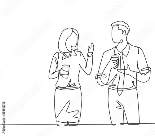 Fotografía Single continuous line drawing of two young male and female worker holding paper cup drink and chatting during office break