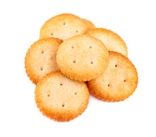 Cracker Isolated On White Background. Dry Cracker Cookies Isolated. Salty Snacks Isolated. Top View.