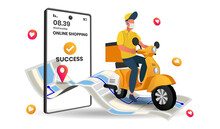 Food Delivery Service Perspective Landing Page With Bike Transportation, Online Shipping Application, Smartphone With Gps Mark On Screen, 3d Vector Illustration.