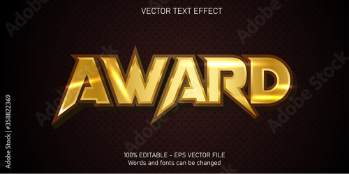 Fotomural Award text, shiny gold style editable text effect