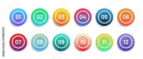 Fototapeta Circle 3d icon set with number bullet point from 1 to 12. Trendy gradient colors obraz