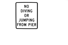 No Diving Or Jumping From Pier Sign