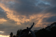 Monument To Astronaut At The Sunset Of Sunrise