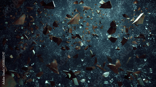 Rock stone and glass broken splash explosion isolated on dirty background Wallpaper Mural