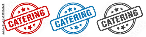 Fototapeta catering stamp. catering round isolated sign. catering label set obraz