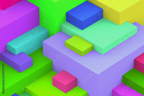 Abstract geometric cubic colorful background. isometric 3d render.