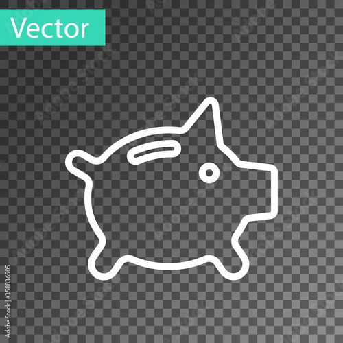 Photo White line Piggy bank icon isolated on transparent background