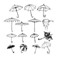 Set Of Various Umbrellas, Sun ...