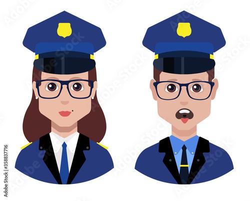 Valokuvatapetti Policeman and policewoman officer avatar