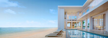 Sea View.Luxury Modern Beach House With Swimming Pool And Sunbed  For Vacation Home Or Hotel.3d Rendering