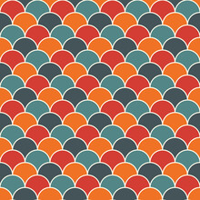 Bright Fish Scale Wallpaper. Asian Traditional Ornament With Repeated Scallops. Seamless Pattern With Vivid Semicircles.