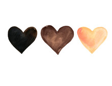 Brown Watercolor Hearts Isolated On White Background