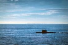 HELSINKI, FINLAND - OCTOBER 5, 2018: Naval Diesel-electric Attack Submarine Varshavyanka In Baltic Sea.