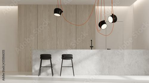 Minimalist Interior of modern living room 3D rendering Fototapet