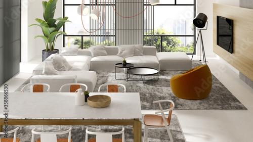 Fotografiet Minimalist Interior of modern living room 3D rendering