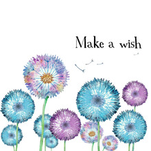 Postcard Template Or Design With Watercolor Fluffy Dandelions, Seeds Or Parachutes Fly In The Wind. Text Make A Wish. Wild Flowers