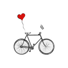 Bicycle With Heart Balloons Ov...