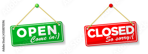 Fototapeta open and closed hanging door signs isolated on white background. Illustration, vector obraz