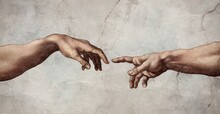 Reaching Hands Close Up Detail From The Creation Of Adam Of Michelangelo Fresco Detail Illustration Repro On Plaster Wall Background.