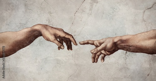 Reaching hands close up detail from The Creation of Adam of Michelangelo fresco detail illustration repro on plaster wall background Fotobehang