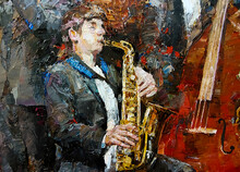 A Young Musician In A Tuxedo Playing Jazz On The Saxophone.  Palette Knife Technique Of Oil Painting And Brush.