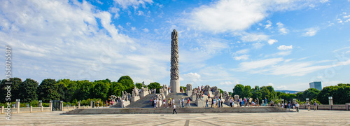 It's Panoramic view of the central obelisk made of the sculptures of the people by Gustav Vigeland, Frogner Park, Oslo, Norway
