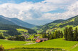 Spectacular view on a green valley in Alps
