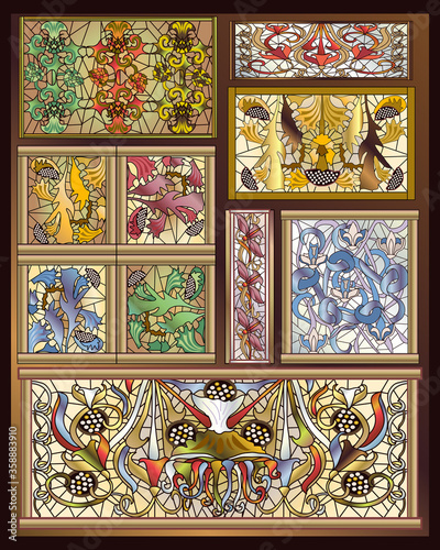 Naklejki witrażowe  stained-glass-art-deco-art-nouveau-designs-collection