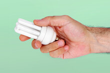 Hand Holding Energy Saver Lamp