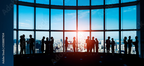 teamwork, office, business, global, city, businessman, management, handshake, hu Canvas-taulu
