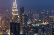 Skyline of evening Kuala Lumpur, Malaysia