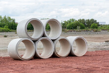Concrete Drainage Pipe On A Co...