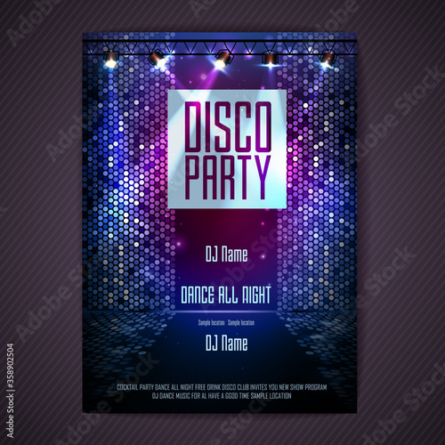 Fotografie, Obraz Disco background. Disco poster