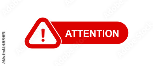 Attention red paper speech bubble. Red danger warning attention or exclamation sign in a speech bubble. Exclamation mark icon. Attention sign icon. Hazard warning symbol.