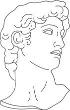 Aesthetic Minimalist Greek Bust Sculpture Line Art David