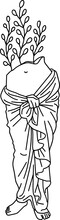 Aesthetic Greek Statue Line Art Half Body Woman With Plants